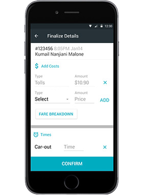 Limo Anywhere Mobile App driver app final charges screen