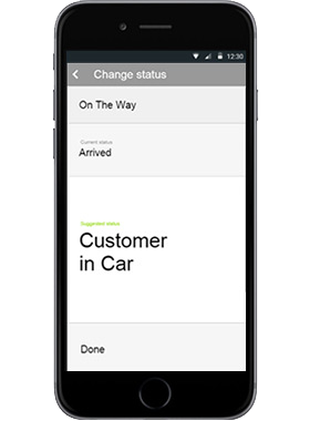 Limo Anywhere Mobile App driver app status updates screen